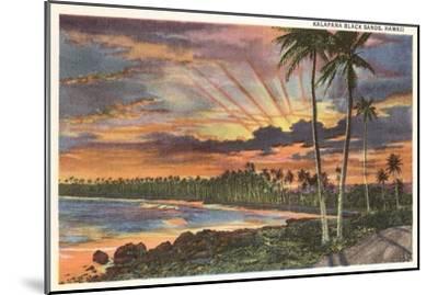 Sunset, Kalapana Black Sands, Hawaii--Mounted Art Print
