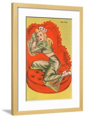 Miss Take, on Red Heart Pillow--Framed Art Print