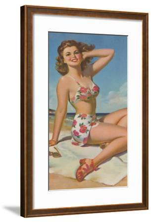 Pin-Up in Flowered Two-Piece--Framed Art Print