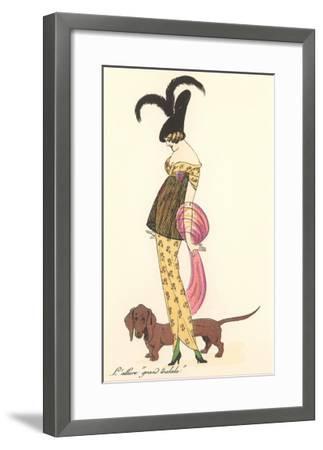 French Fashion, Dachshund--Framed Art Print