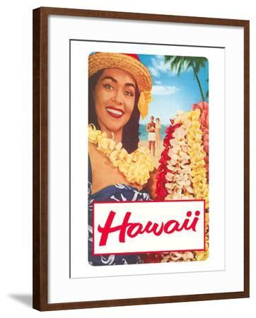 Hawaii, Woman with Frangipani Leis--Framed Art Print