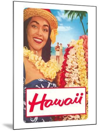 Hawaii, Woman with Frangipani Leis--Mounted Art Print