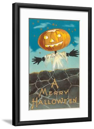 Merry Halloween, Jack O'Lantern by Wall--Framed Art Print