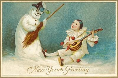 Happy New Year, Clown and Snowman--Stretched Canvas Print
