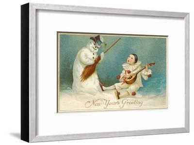 Happy New Year, Clown and Snowman--Framed Art Print