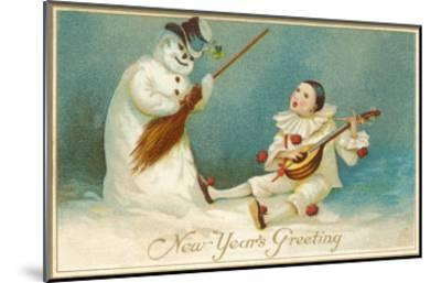 Happy New Year, Clown and Snowman--Mounted Art Print