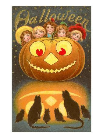Halloween, Children behind Jack O'Lantern--Framed Art Print