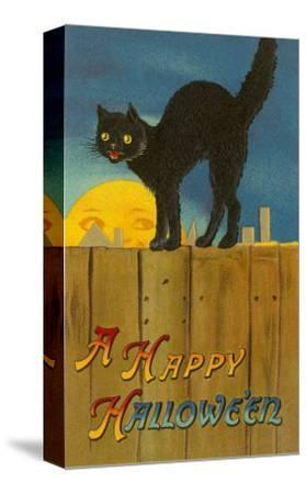 A Happy Halloween, Cat on Fence--Stretched Canvas Print