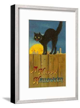 A Happy Halloween, Cat on Fence--Framed Art Print