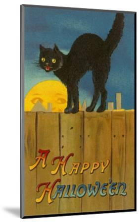 A Happy Halloween, Cat on Fence--Mounted Art Print