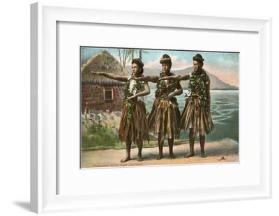 Hawaiian Hula Dancers--Framed Art Print