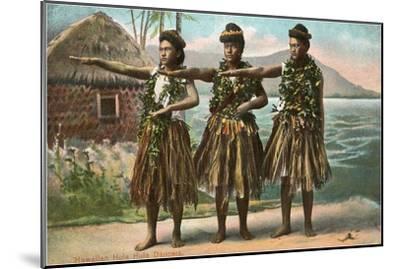 Hawaiian Hula Dancers--Mounted Art Print