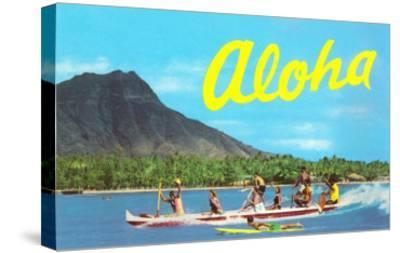 Aloha, Riding Outrigger, Hawaii--Stretched Canvas Print