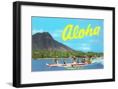 Aloha, Riding Outrigger, Hawaii--Framed Art Print
