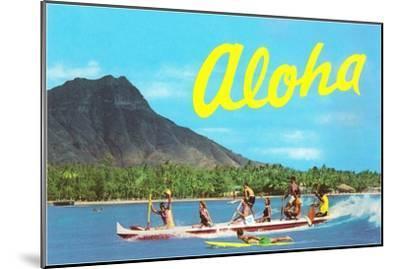 Aloha, Riding Outrigger, Hawaii--Mounted Art Print