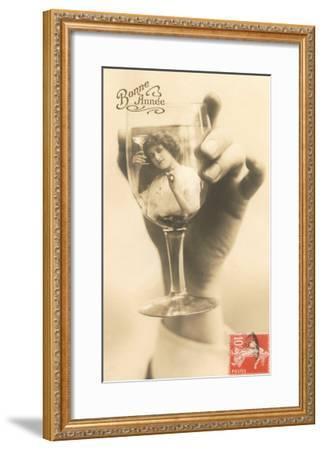 Bonne Annee, Girl in Wine Glass--Framed Art Print