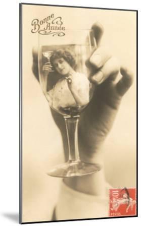 Bonne Annee, Girl in Wine Glass--Mounted Art Print