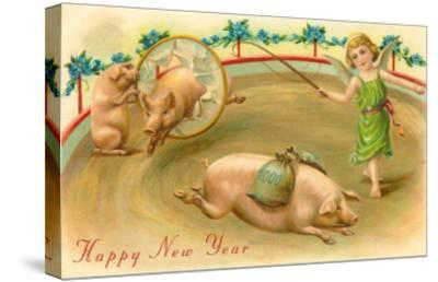 Happy New Year, Performing Pigs--Stretched Canvas Print