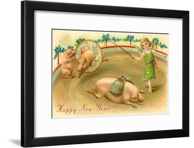 Happy New Year, Performing Pigs--Framed Art Print