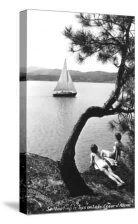 Sailboat on Lake Coeur d'Alene, Idaho--Stretched Canvas Print
