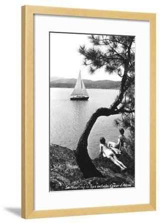 Sailboat on Lake Coeur d'Alene, Idaho--Framed Art Print