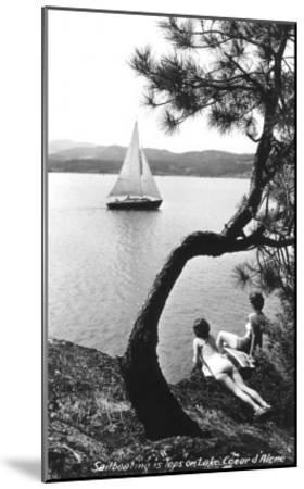 Sailboat on Lake Coeur d'Alene, Idaho--Mounted Art Print