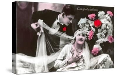 Congratulations, Bride and Groom--Stretched Canvas Print