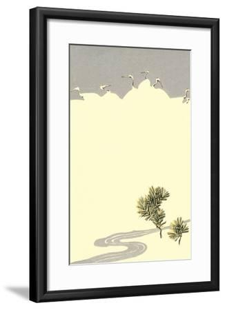 Cranes and Pines--Framed Art Print
