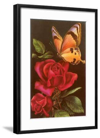 Red Roses with Yellow Swallowtail Butterfly--Framed Art Print