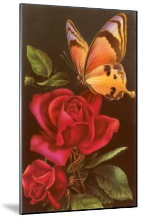 Red Roses with Yellow Swallowtail Butterfly--Mounted Art Print