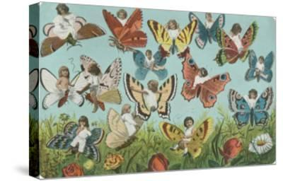 Butterflies with Victorian Children--Stretched Canvas Print