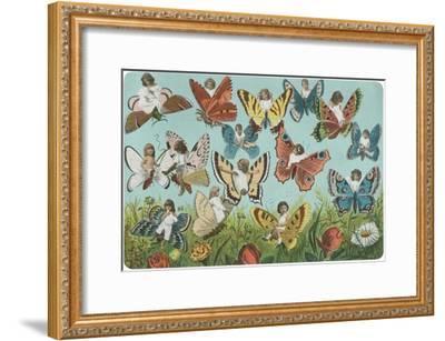 Butterflies with Victorian Children--Framed Art Print