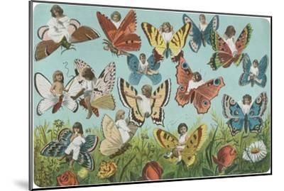 Butterflies with Victorian Children--Mounted Art Print