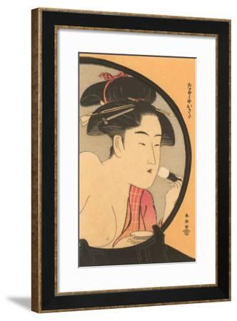 Japanese Woodblock, Woman at Toilette--Framed Art Print
