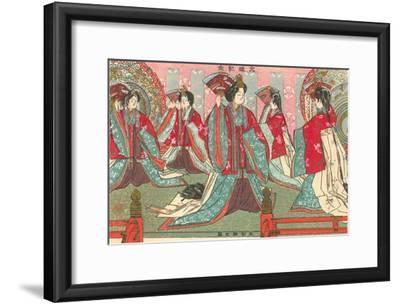 Japanese Woodblock, Women with Fans--Framed Art Print