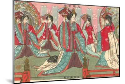 Japanese Woodblock, Women with Fans--Mounted Art Print