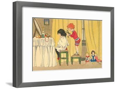 Playing Barber Shop--Framed Art Print