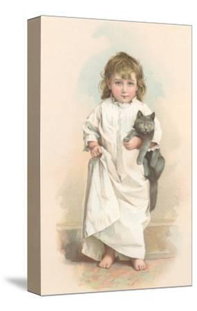 Girl in Nightgown with Frightened Cat--Stretched Canvas Print
