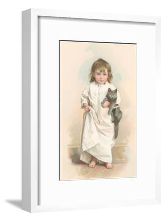 Girl in Nightgown with Frightened Cat--Framed Art Print