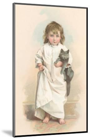 Girl in Nightgown with Frightened Cat--Mounted Art Print