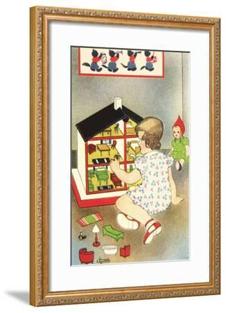 Girl Playing with Doll House--Framed Art Print