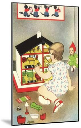 Girl Playing with Doll House--Mounted Art Print