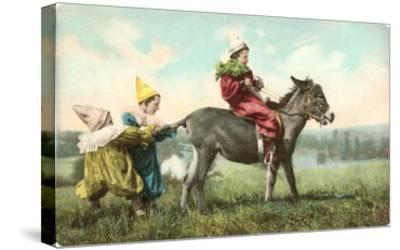 Three Child-Clowns with Burro--Stretched Canvas Print