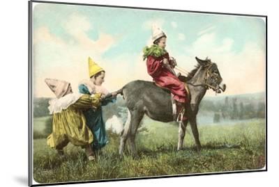 Three Child-Clowns with Burro--Mounted Art Print