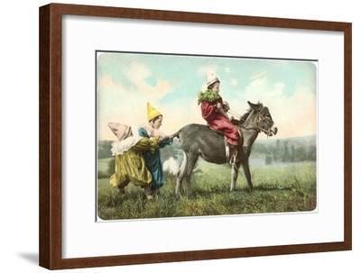 Three Child-Clowns with Burro--Framed Art Print