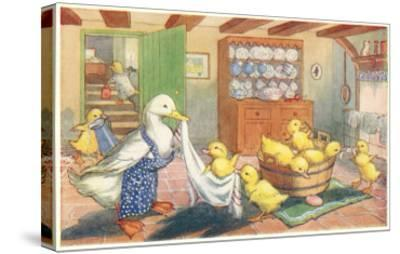 Bath Day for Ducklings--Stretched Canvas Print