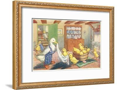 Bath Day for Ducklings--Framed Art Print