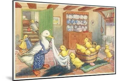 Bath Day for Ducklings--Mounted Art Print