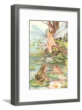 Baby with Dragonfly Wings and Frog Children--Framed Art Print