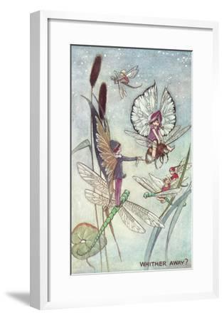 Fairies Riding Dragonflies and Bees--Framed Art Print